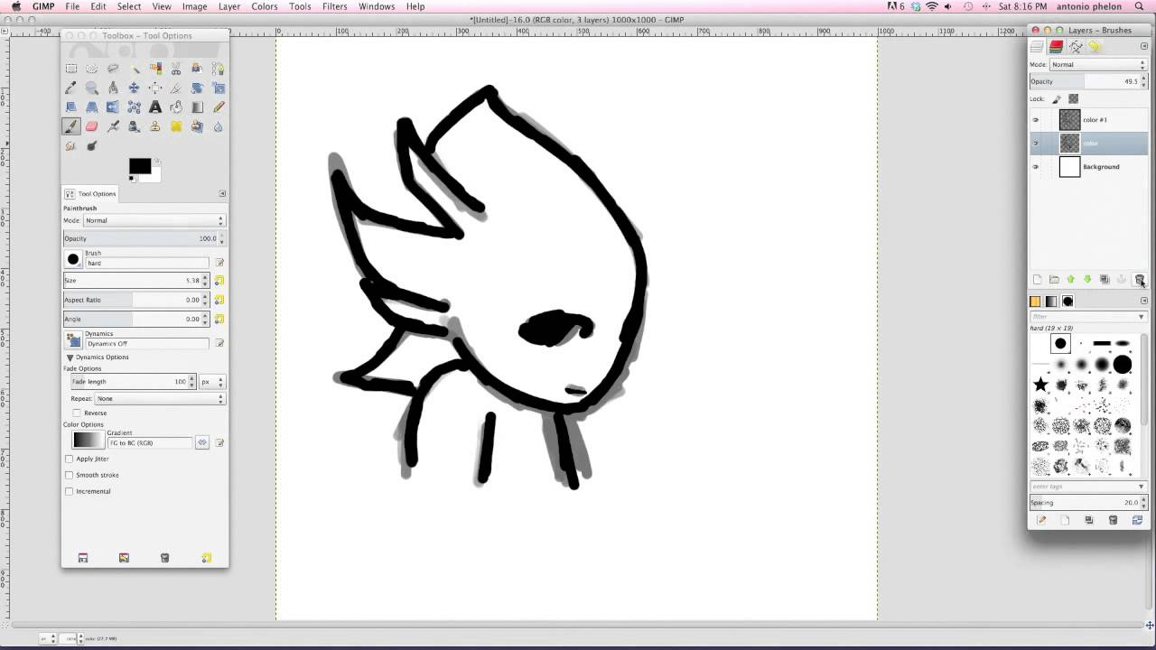 Line Drawing Gimp : Introduction tutorial to gimp learn how draw youtube