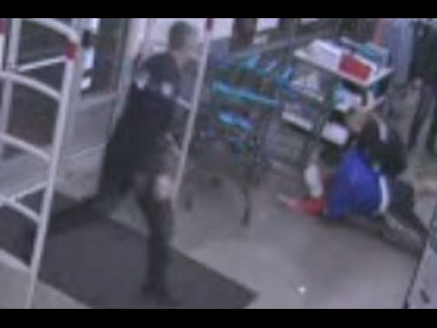 14-Year-Old Football Player Tackles Shoplifter [SURVEILLANCE VIDEO]