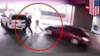 caught on camera: Man runs over 3 cops in Arizona, gets his butt kicked - TomoNews