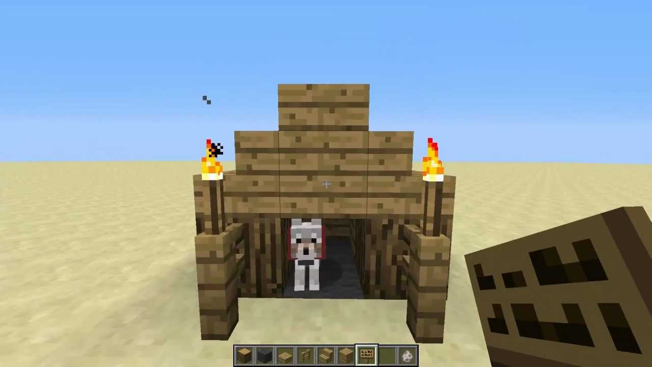 how to make a dog house in minecraft pe