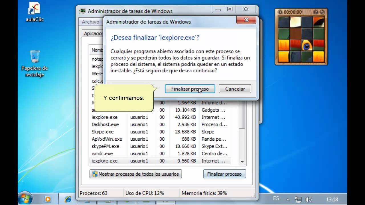 Curso De Windows 7 Administrador De Tareas Youtube