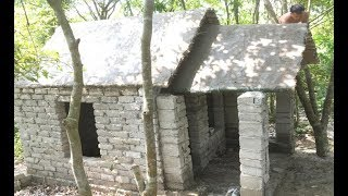 Primitive technology with survival skills Wilderness build house Roman part 9