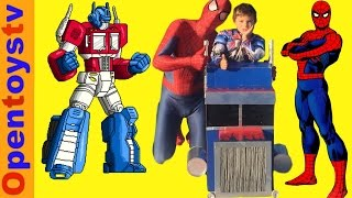 spiderman for kids and kids costume playing with spiderman and optimus prime