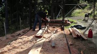 Home made twin blade sawmill in action