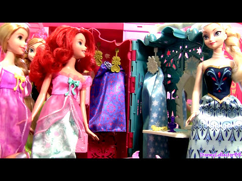 Disney Princess Ariel & Rapunzel Royal Slumber Party having Sleepover at Barbie Glam Vacation House