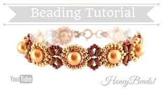 Beginners Bracelet Sunflower Tutorial *(3)* Beading Tutorial by HoneyBeads1 (with superduo beads)