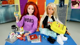 Barbie Dolls Back to School Haul - Royal High   Hello Kitty Miniature School Supplies Re-ment