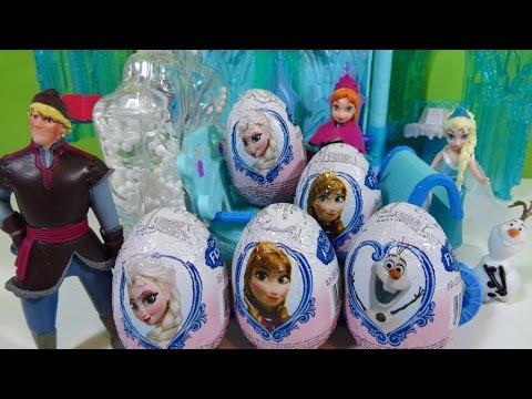 5 Huevos Sorpresa Frozen con Trineo de Aventuras y Palacio Luces Mágicas