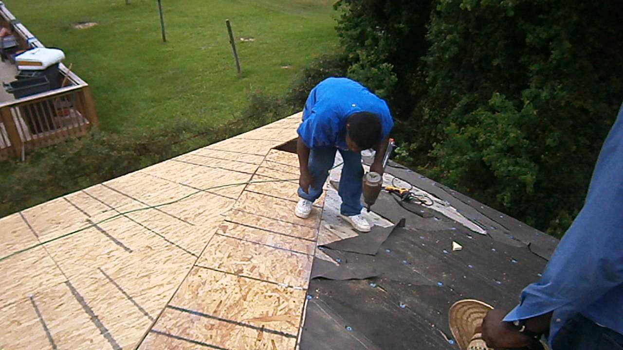 Decking the roof with 5 8 osb youtube for T g roofing