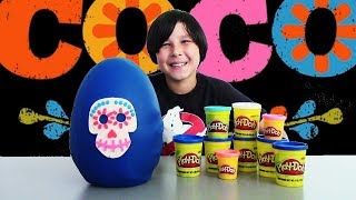 Giant COCO Movie Play Doh Surprise Egg Unboxing! GHOSTBUSTERS Nightmare Before Christmas TOYS