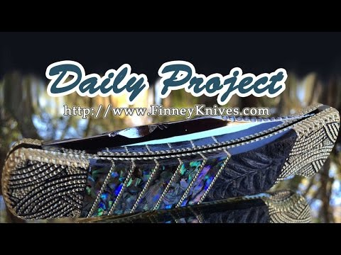 Pocket Knife Daily Project - Custom Buck 110 with Fossil Fern and Abalone by Garett Finney