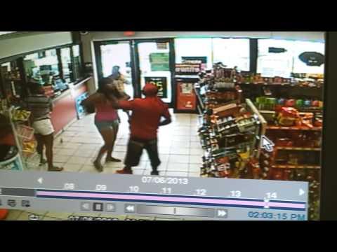 Black girls fighting at gas station