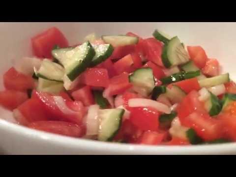 Салат из свежих овощей. Самый быстрый и простой рецепт салата. Вегетарианский салат.