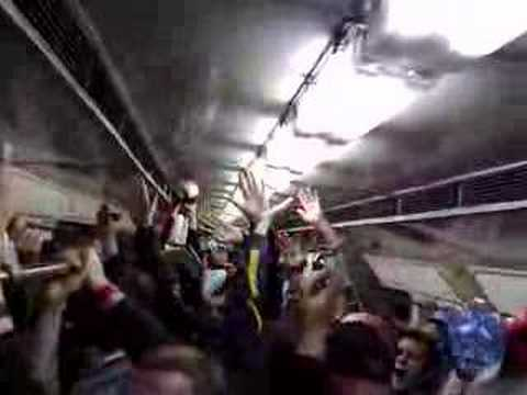 Manchester United fans on metro in moscow