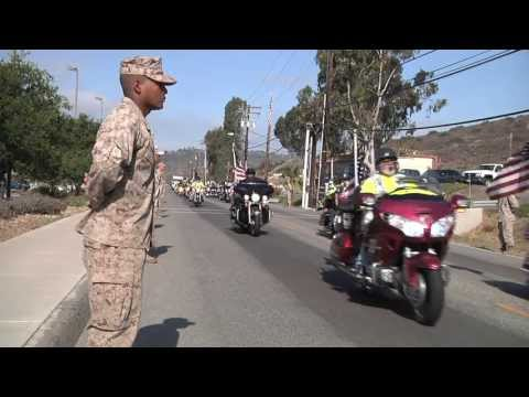 Patriot Guard Riders escort 5th Marines OEF Memorial