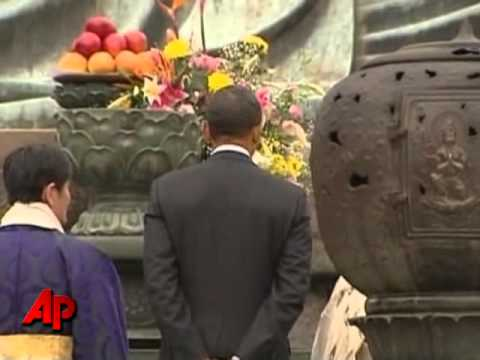 Raw Video: Obama Visits Great Buddha in Japan