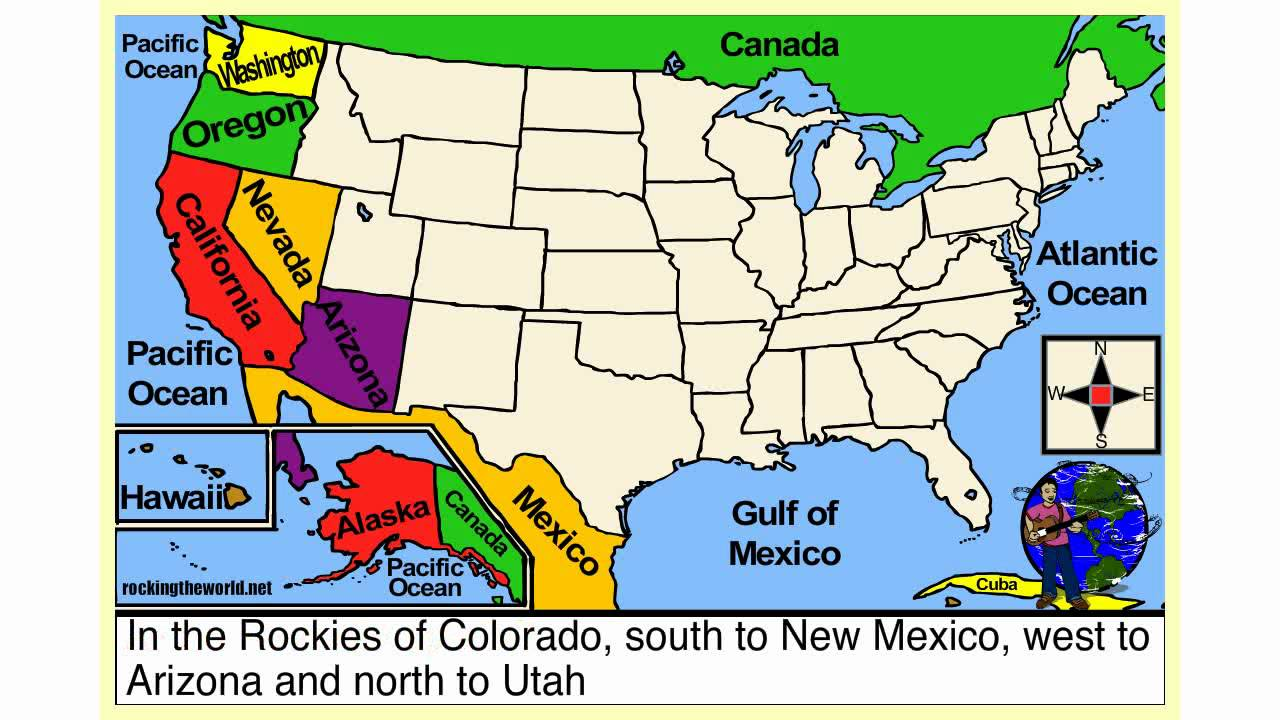 USA Map States And Capitals Southern Border Region California Us - Us map with capitals and oceans