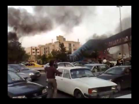 New Footage - Post-election protest in Tehran at Gisha Bridge - Iran 20 June 2009