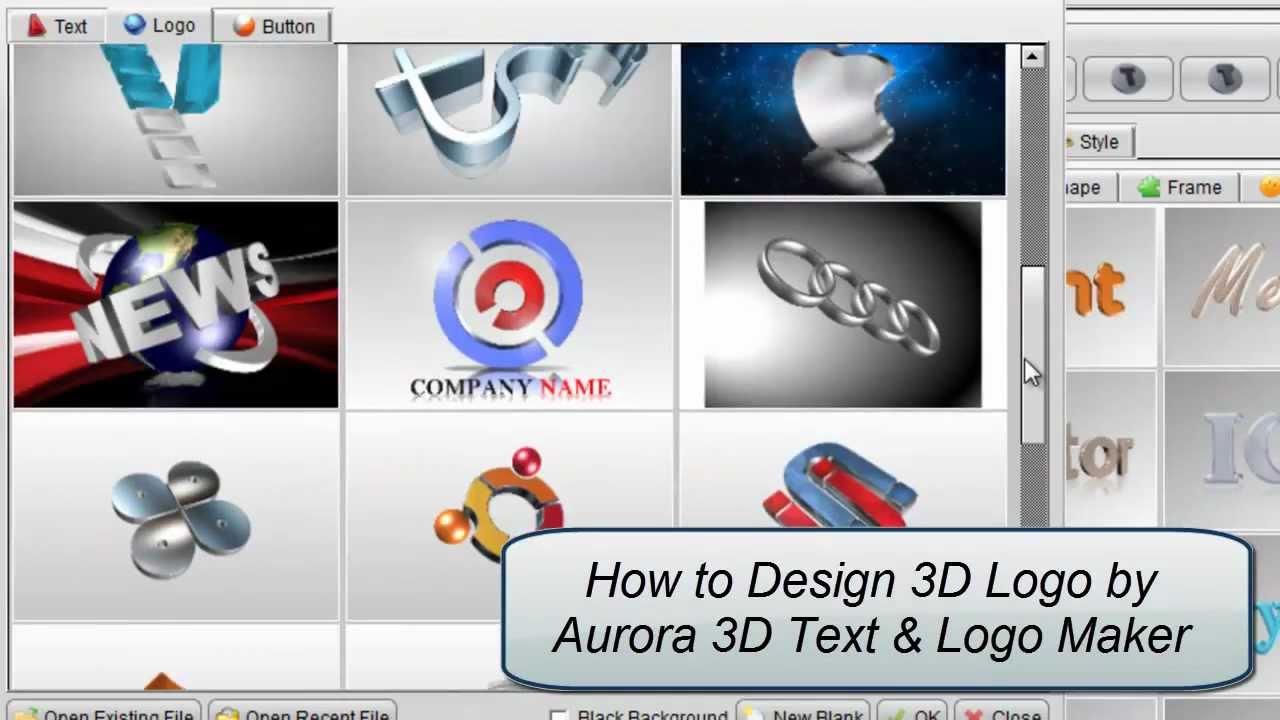 3d logo design by aurora 3d text logo maker youtube for 3d blueprint creator