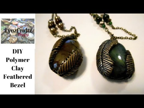 DIY Polymer Clay Feathered Bezels step by step
