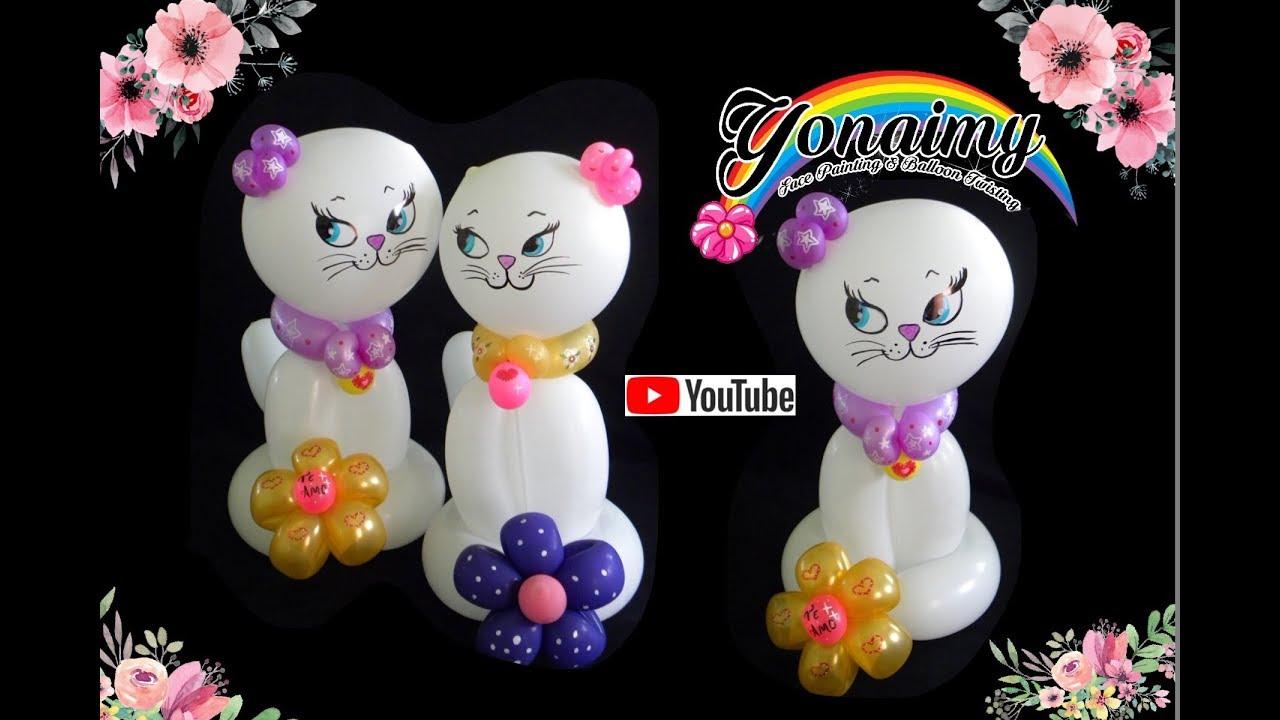 Como hacer una bonita gatita cute kitten youtube - Hacer munecos con globos ...