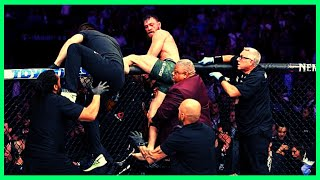 Khabib jumps cage, McGregor ATTACKED by Khabib 'FRIENDS' JUMP in cage and PUNCH UFC star after loss