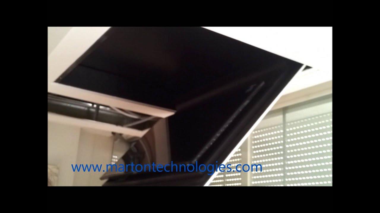 Motorized Silent Ceiling Flip Fold Down Lift Tv 55