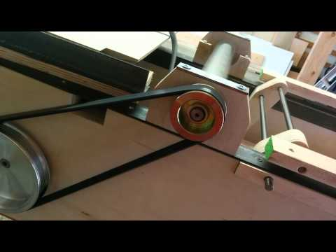 Pulley belt test on homemade jointer