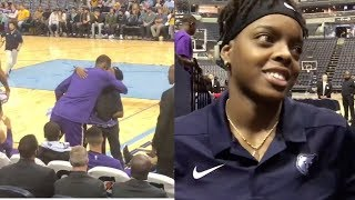 LeBron James Gifts Grizzlies Ball Girl His Game Shoes During Game!