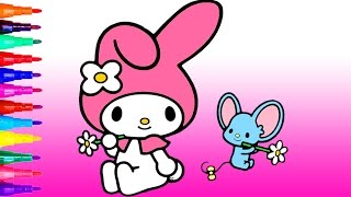 learn colors my melody hello kitty coloring page for kids