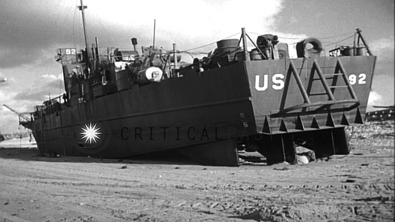 view of a damaged allied landing craft infantry  lci  on