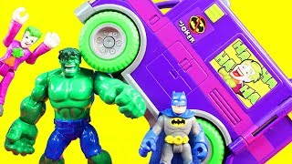 Imaginext Joker Creates Mind Control Machine Hulk Batman Robin Superhero Justice League Battle