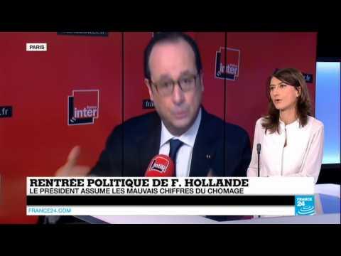 résumé par France24 du passage de François Hollande à France Inter