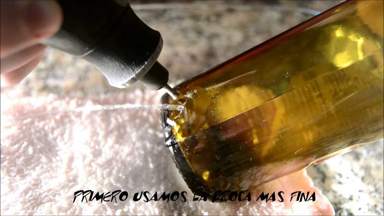 Taladro en botella de cristal youtube for Como reparar un cristal agrietado