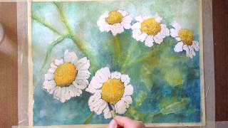 Daisies watercolor tutorial, a step by step lesson