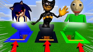 Minecraft PE : DO NOT CHOOSE THE WRONG SECRET BASE! #1 ( Ink Bendy, Baldi & Sonic.EXE )