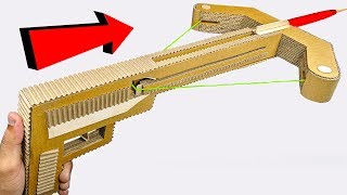 How to make Crossbow GUN from cardboard DIY at HOME for KIDS