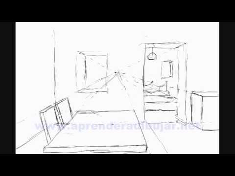 Como dibujar una casa por dentro en 3d dibujos de casas en perspectiva youtube - Dessin d interieur de maison ...