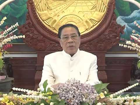 Lao NEWS on LNTV: President Choummaly Sayasone extends Pi Mai Lao  best wishes.13/4/2016