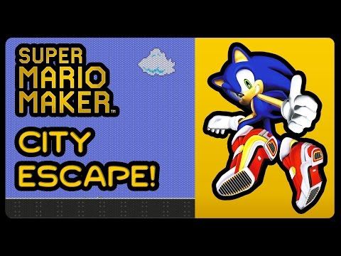 city escape in super mario maker with sonic sound effects