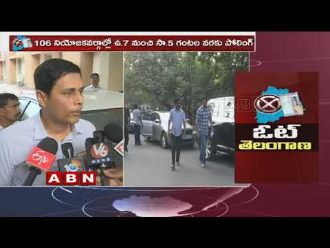 Telangana Elections 2018 | CEO Rajat Kumar inspects Polling arrangements at Booths