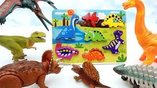 Learn Dinosaurs With Wooden Puzzle! Finding A Lost Dinosaurs - Tyrannosaurus, Pteranodon, Rex