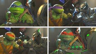 Injustice 2 - TMNT (Ninja Turtles) Vs Batman - All Intro Dialogue/All Clash Quotes