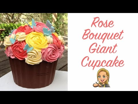 Decorating a Giant Cupcake Shell as a Rose Bouquet