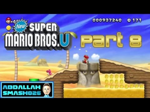 "Let's Play New Super Mario Bros U for WiiU - Part 8: W2-1 ""Stone-Eye Zone"" 100% With Abdallah"