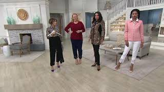 Dennis Basso Luxe Crepe Slim-Leg Ankle Pants with Lace on QVC