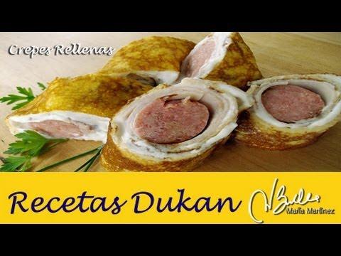 Crepes Dukan saladas rellenas, de David (Ataque) / Dukan Diet Turkey Sausage Rolls