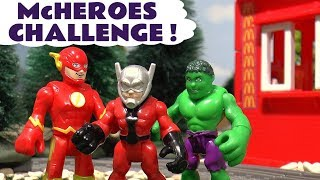McDonalds Drive Thru Best Superhero Challenge with Ant Man Flash and Hulk - Fun for kids TT4U