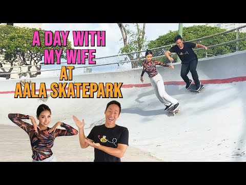 FAKIE 540 INWARD HEELFLIP BIGSPIN + NANA'S FIRST DROP IN!! - A Day With My Wife At Aala Skatepark