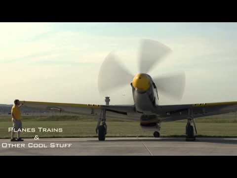 North American P51 Mustang fighter plane start up, pure sound